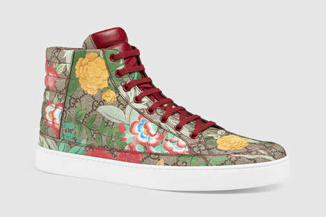 Floral Couture Sneakers - The Gucci Tian Print Sneakers Boast Retro Eastern Style