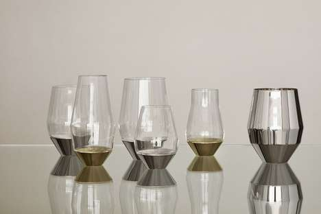Stem-Free Wine Glasses - These Luxurious Wine Glasses Use a Metal Base and Eliminate the Stem