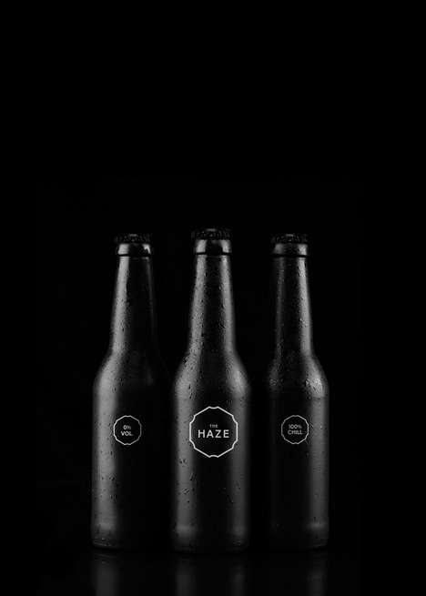 Blackout Sparkling Beverage Bottles - The Haze is a Sparkling Soft Drink in an Entirely Black Bottle