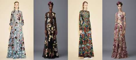 Eco Embroidered Gowns - These Dresses by Valentino Feature Extreme Floral Embroidery