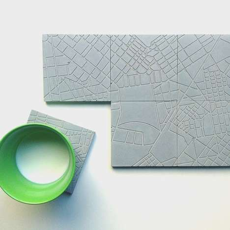 Concrete Cityscape Coasters - These Drink Salvers Feature a Topographic Print of a Map of Athens