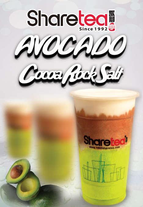 Cocoa Avocado Drinks - Sharetea's Avocado Rock Salt Cheese Drink is Part Salty, Part Sweet