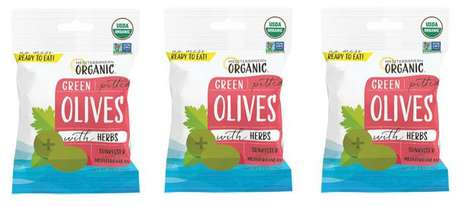Green Olive Snack Packs - These Organic Olives Come in a Convenient Pouch for On-The-Go Snacking