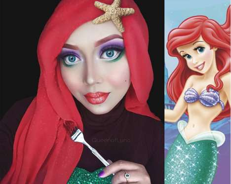 Religious Disney Makeup Portraits - Saraswati Changes Into Disney Characters While Wearing a Hijab