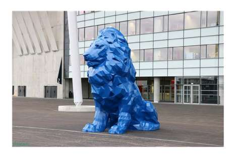 3D-Printed Statues - This Colorful 3D-Printed Lion Guards the Entrance of the Parc Olympique
