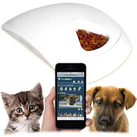 Smartphone-Controlled Pet Feeders - The Feed and Go Pet Bowl Digitally Schedule Feeding Times