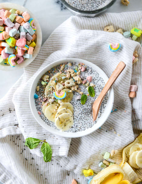 Superfood Marshmallow Cereal Puddings - This Breakfast Chia Pudding is Topped with Lucky Charms