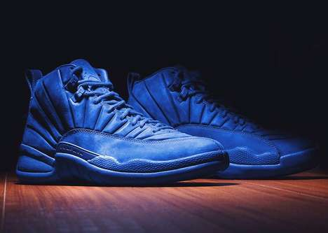 One-Toned Basketball Shoes - The Air Jordan 12 is Newly Rendered in a Monochromatic Blue