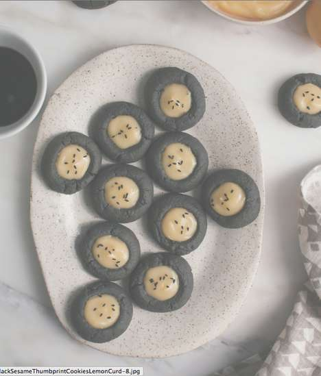Lemon Sesame Treats - These Homemade Thumbprint Cookies Combine Citrus Curd and Black Sesame Flavors
