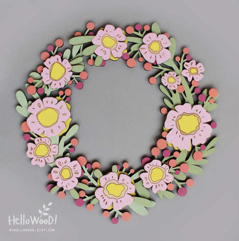 Wood-Cut Easter Wreaths - MyHelloWood's Door Decor is Vibrant and Hand-Crafted