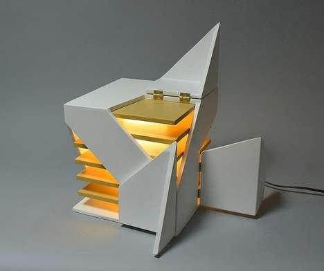 Fragmented Cube Lights - The 'Folding Light' by Michael Jantzen Emits Illumination in Various Ways