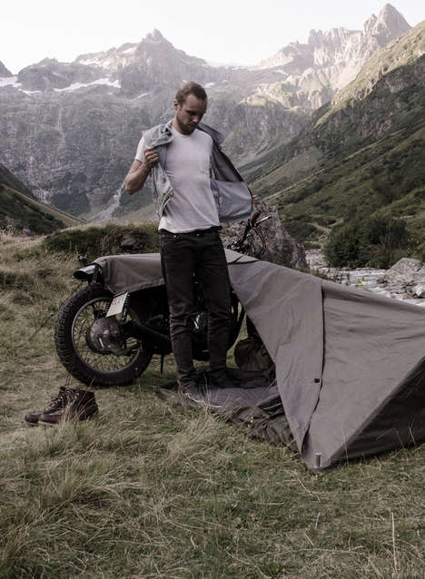 Camping Motorcycle Tents - The Exposed Motorcycle Bivouac Turns Any Road Bike into a Portable Abode