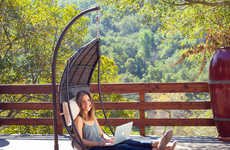 Outdoor Relaxation Furniture - This Brown Wicker Outdoor Hanging Chair is Ideal for Decks