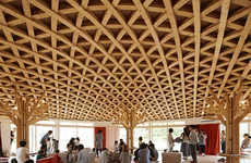 Straw Hat-Inspired Ceilings - This Japanese Community Center Features an Intricate Lattice Ceiling