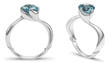 Romantic Mermaid Rings - 'The Little Mermaid' Engagement Ring Features Fishtails in the Band Design