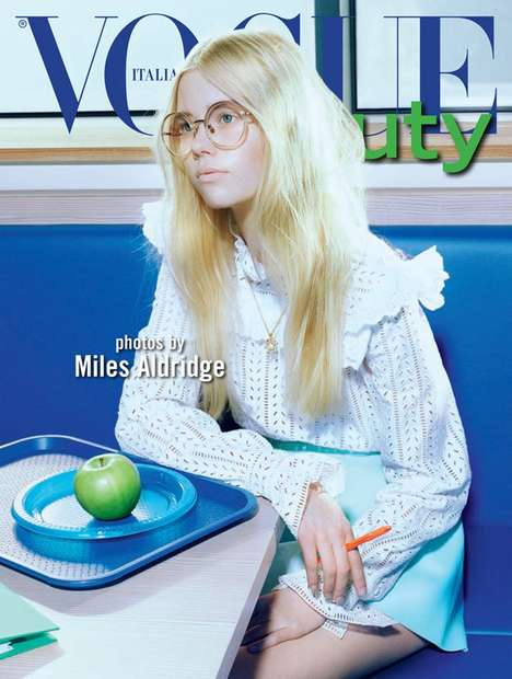 Nerdy Beauty Editorials - Vogue Italia Beauty's Latest Feature Spotlights Geek Girl Fashion
