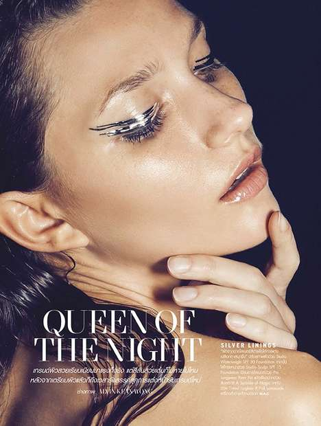 Metallic Eyeliner Editorials - L'Officiel Thailand's Beauty Story Highlights Glowing Makeup