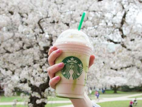 Sakura-Inspired Blended Beverages - The Cherry Blossom Frappuccino is Inspired by Japanese Flowers