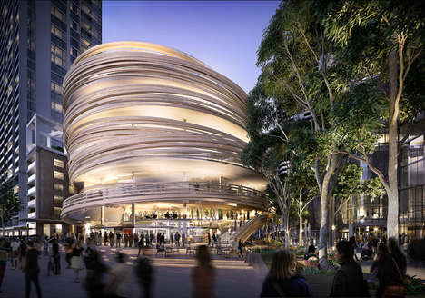 Curved Timber-Wrapped Towers - This Civic Center Will Feature a Wooden Screen Around the Exterior