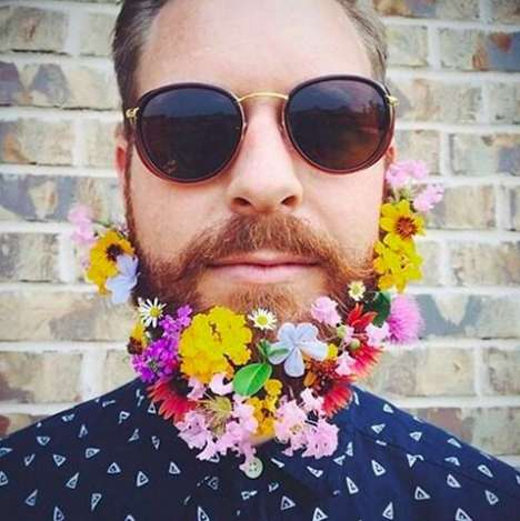 Flower-Adorned Beards - Men Have Begun SportingFloral Beards for the Spring Season