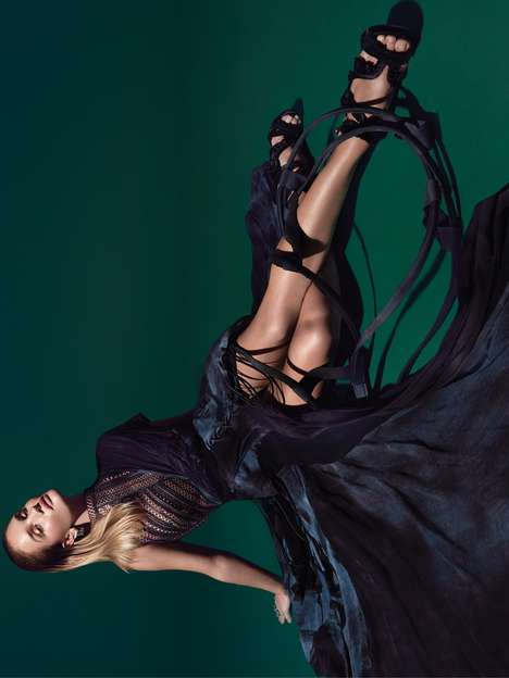 Suspended Supermodel Editorials - Rosie Huntington-Whiteley Poses in Couture Gowns Upside Down