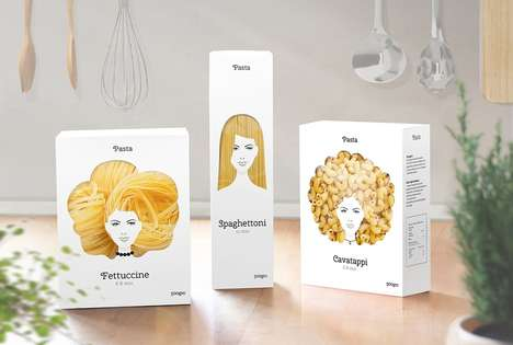 Mane-Inspired Pasta Box Designs - Good Hair Day Pasta Boasts Animate Paper Packaging