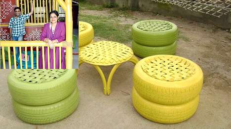 Recycled Tire Furniture - Bamboo House India Turns Scrap Tires into Beautiful Upcycled Furniture
