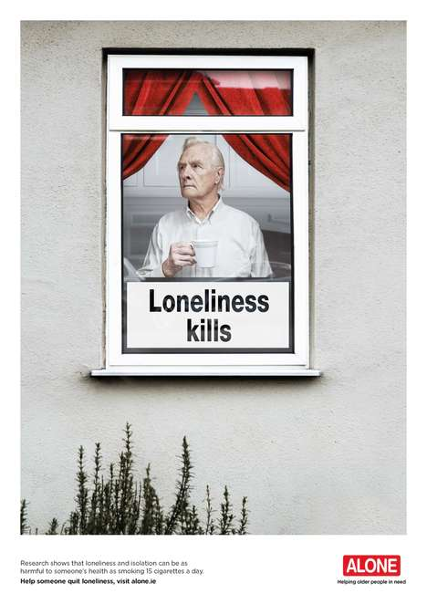 Solitary Senior Ads - Alone's Loneliness Kills Campaign Shows the Harmful Affect of Abandonment