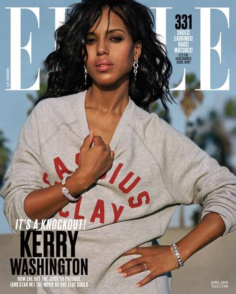 Beachy Sweatshirt Editorials - The ELLE Kerry Washington Cover Shoot Focuses on Casual Spring Looks