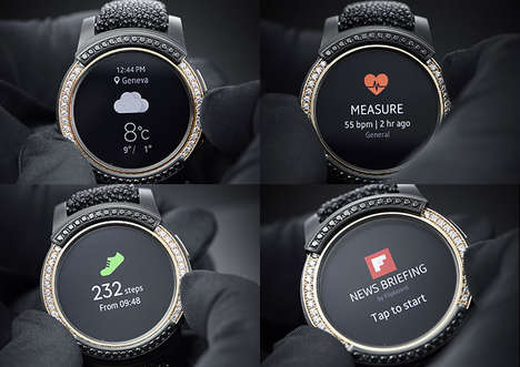 Opulent Bejeweled Smartwatches - This Samsung Smartwatch Makes Liberal Use of Gold and Diamonds