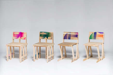 Pattered Pallet Chairs - These Wooden Seats are Constructed Using Upcycled Painting Palettes