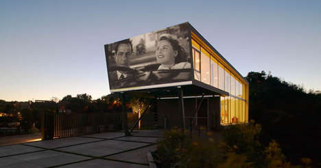 Projecting Home Facades - This Modern Hollywood Home Features an Outdoor Wall for Screening Films