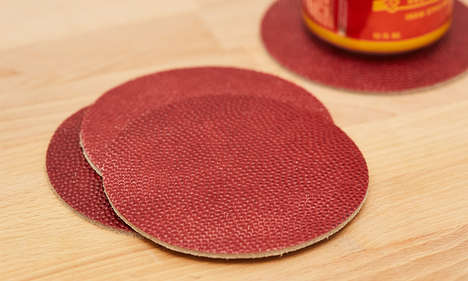 Leather Basketball Coasters - These Drink Placemats are Constructed Using Sporting Goods Fabric