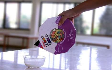 Polygonal Cereal Packaging - This Froot Loops Cereal Packaging Avoids Spilling the Breakfast Food