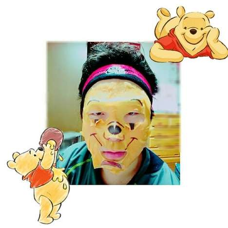 Cartoon Face Masks - The Winnie the Pooh Skincare Sheet Masks Transform the Wearer into a Bear