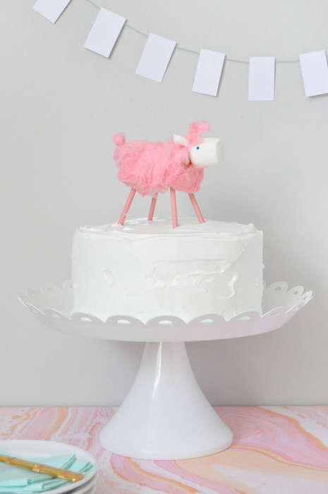Candy Floss Animal Cakes - This Celebratory Springtime Dessert Features an Edible 3D Sheep