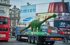 Giant Topiary Dinosaur Stunts - Margarine Brand Flora Recently Toured a 13-Foot Diplodocus