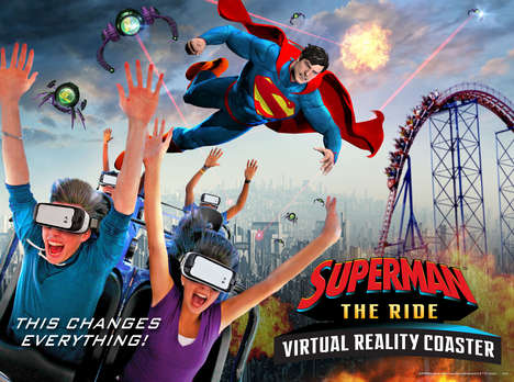 VR Roller Coasters - This Theme Park is Equipping Its Superman-Themed Coasters with VR Headsets