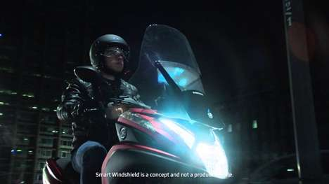 Smartphone-Connected Windshields - The Samsung Smart Motorcycle Windshield is App-Connected