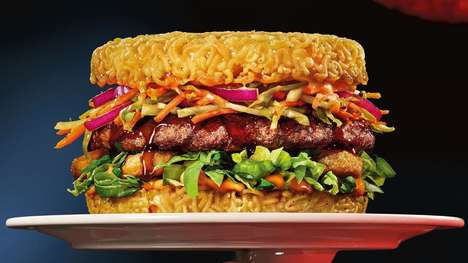 Ramen-Based Burger Buns - The Red Ramen Burger Features Buns Made Out of Instant Noodles