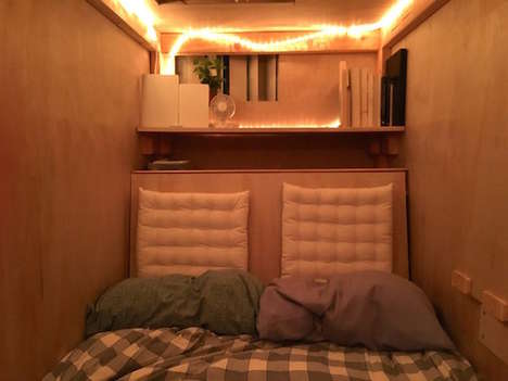 Tiny Bedroom Pods - Illustrator Peter Berkowitz is Living in a Pod to Fight High Housing Costs