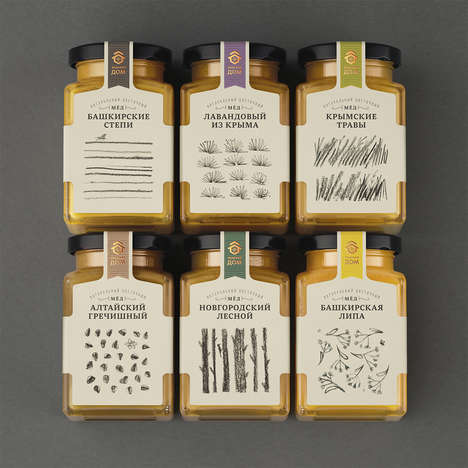 Elegant Honey Jar Branding - These Jars of Honey Feature Hand-Drawn Pencil Sketches
