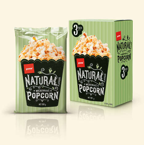 Wholesome Popcorn Branding - Pams Popcorn is a Range of Naturally Flavored Microwavable Popcorn