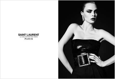 Elegantly Grayscale Fashion Ads - The Saint Laurent Cara Delevingne Campaign is Sophisticated