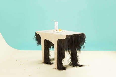 Hairy Coffee Tables - Fifty-Fifty by Karolina Fardova is a Quirky Dual-Purpose Furniture Piece