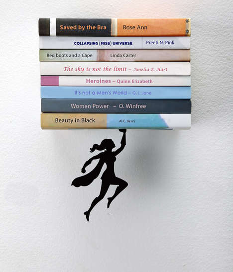 Suspended Superhero Bookends - The Supergal Book Shelf Unit Creatively Celebrate Female Strength
