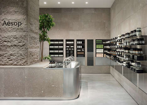 Volcanic Beauty Shop Interiors - The New Aesop Shop is Inspired by Japan's Mountainous Landscape