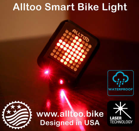 Laser Bike Light Indicators - The Alltoo Smart Bike Light Senses and Signals the Rider's Actions