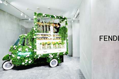 In-Store Flower Trucks - Fendi's Ginza Boutique Features a Truck Kiosk That Sells Bouquets