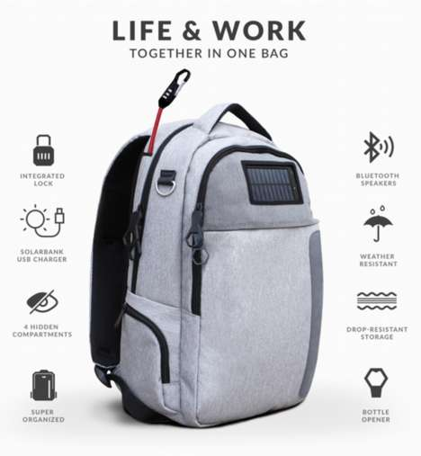 Tech-Centric Travel Packs - 'Lifepack' Travel Backpacks Feature Anti-Theft and Solar Technology
